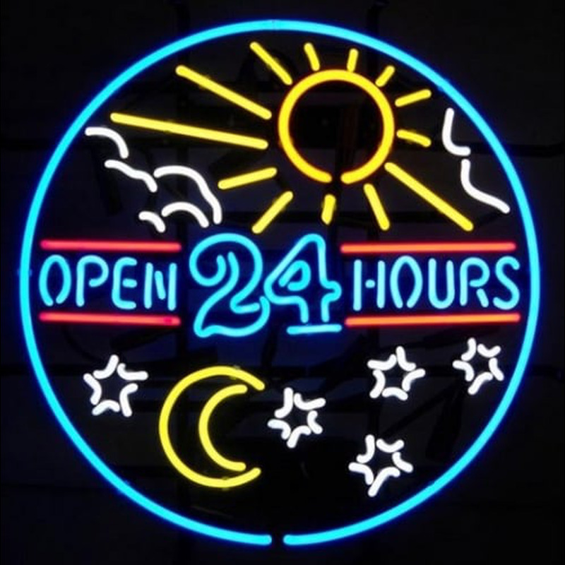 open 24 hours sun moon day beer bar pub neonskylt. Black Bedroom Furniture Sets. Home Design Ideas