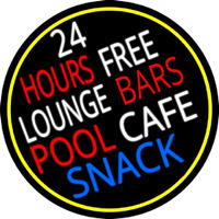 24 Hours Free Lounge Bars Pool Cafe Snack Oval With Border Neonskylt