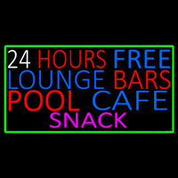 24 Hours Free Lounge Bars Pool Cafe Snack With Green Border Neonskylt