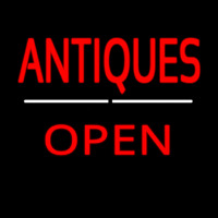 Antiques Open White Line Neonskylt