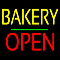 Bakery Block Open Green Line Neonskylt