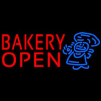 Bakery Open With Man Neonskylt