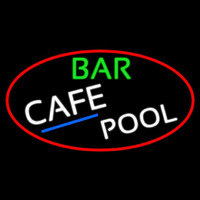 Bar Cafe Pool Oval With Red Border Neonskylt