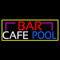 Bar Cafe Pool With Yellow Border Neonskylt