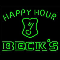 Beck Key Logo Happy Hour Beer Neonskylt