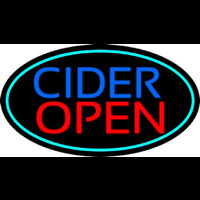 Blue Cider Open With Turquoise Oval Neonskylt