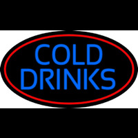 Blue Cold Drinks With Red Oval Neonskylt