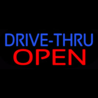 Blue Drive Thru Red Open Neonskylt