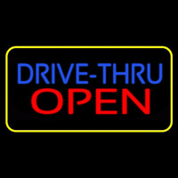 Blue Drive Thru Red Open Yellow Border Neonskylt