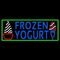 Blue Frozen Yogurt With Green Border Logo Neonskylt