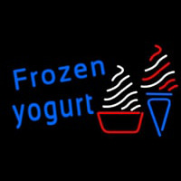 Blue Frozen Yogurt With Logo Neonskylt