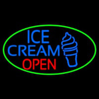 Blue Ice Cream Open With Green Oval Neonskylt