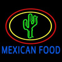Blue Mexican Food With Cactus Logo Neonskylt