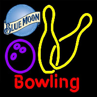 Blue Moon Bowling Yellow 16 16 Beer Sign Neonskylt