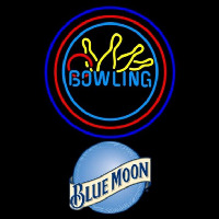 Blue Moon Bowling Yellow Blue Beer Sign Neonskylt