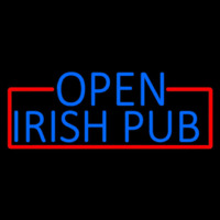 Blue Open Irish Pub With Red Border Neonskylt