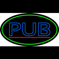 Blue Pub Oval With Green Border Neonskylt