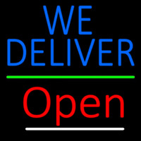 Blue We Deliver Open Green Line Neonskylt