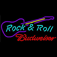 Budweiser Rock N Roll Guitar Beer Sign Neonskylt