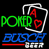 Busch Green Poker Beer Sign Neonskylt