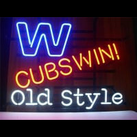 CHICAGO CUBS WIN W OLD STYLE BAR PUB Neonskylt