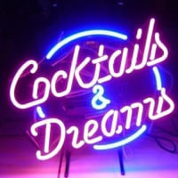 Cocktails And  Dreams Öl Bar Öppet Neonskylt