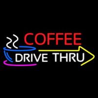 Coffee Drive Thru With Yellow Arrow Neonskylt