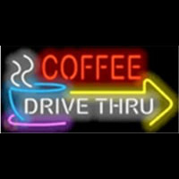 Coffee Drive Thru with Right Arrow Neonskylt