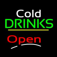 Cold Drinks Open Yellow Line Neonskylt