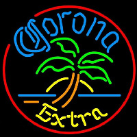 Corona E tra Circle Palm Tree Beer Sign Neonskylt