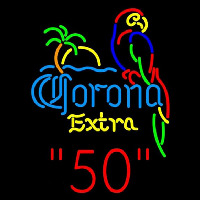Corona E tra Parrot with Palm 50 Beer Sign Neonskylt