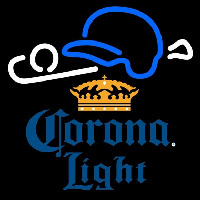 Corona Light Baseball Beer Sign Neonskylt