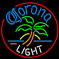 Corona Light Circle Palm Tree Beer Sign Neonskylt