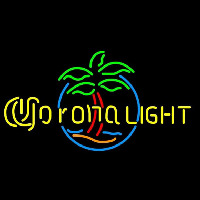 Corona Light Palm Tree Circle Beer Sign Neonskylt