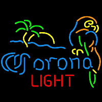 Corona Light Palm Tree Parrot Beer Sign Neonskylt