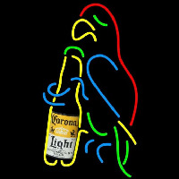 Corona Light Parrot Bottle Beer Sign Neonskylt