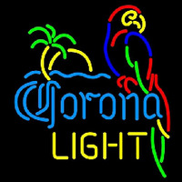 Corona Light Parrot with Palm Beer Sign Neonskylt