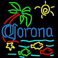 Corona Tropical Fish w Palm Tree Beer Sign Neonskylt