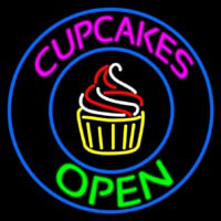 Cupcakes Open With Circle Neonskylt