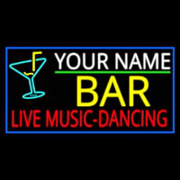 Custom Red Live Music Dancing Yellow Bar And Blue Border Neonskylt