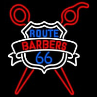 Custom Route Barbers 66 Logo Neonskylt