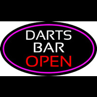 Dart Bar Open Oval With Pink Border Neonskylt