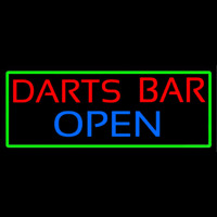 Dart Bar Open With Green Border Neonskylt