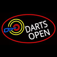 Dart Board Open Oval With Red Border Neonskylt