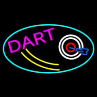 Dart Board Oval With Turquoise Border Neonskylt