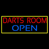 Darts Room Open With Yellow Border Neonskylt