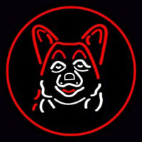 Dog Grooming Red Oval Neonskylt