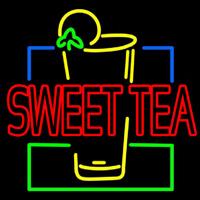 Double Stroke Sweet Tea With Glass Neonskylt