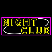 Double Stroke Yellow Night Club Pink Border Neonskylt