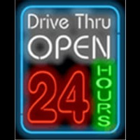 Drive Thru Open 24 Hours Neonskylt